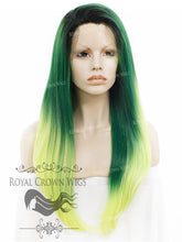 "24 inch Heat Safe Synthetic Straight Texture Lace Front ""Aphrodite"" in Green Ombre, Synthetic Wig, Royal Crown Wigs"