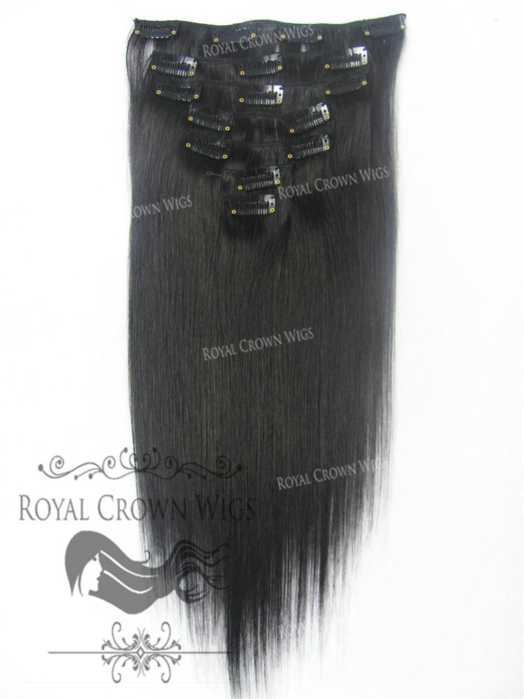 Brazilian 7 Piece Straight Human Hair Weft Clip-In Extensions in #1B, Clip-In Hair Extension, Royal Crown Wigs