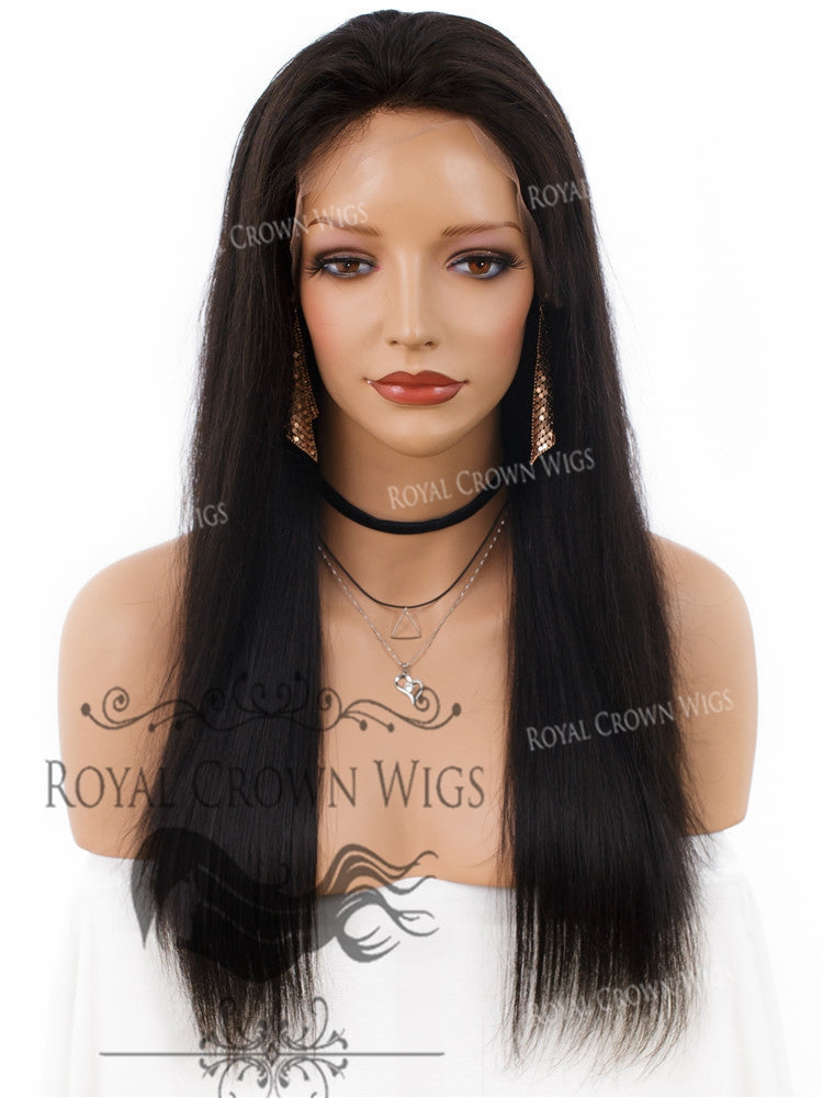 18 Inch Lace Front Human Hair Wig with Straight Texture in Natural Color 180% Density, Human Hair Wig, Royal Crown Wigs