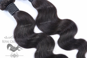 100g Brazilian Human Hair Body Wave Wefts in Natural Color, Natural Color Weft Hair Extension, Royal Crown Wigs