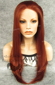 "24 inch Heat Safe Synthetic Straight Texture Lace Front ""Aphrodite"" in Medium Auburn, Synthetic Wig, Royal Crown Wigs"