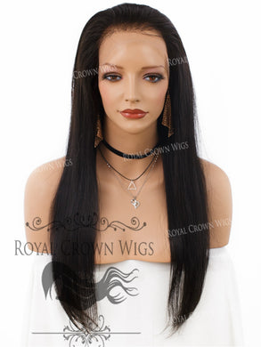 20 Inch Lace Front Human Hair Wig with Straight Texture in Natural Color 150% Density, Human Hair Wig, Royal Crown Wigs