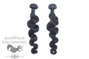 Loose Wave #2 Human Hair Weft, Natural Color Weft Hair Extension, Royal Crown Wigs