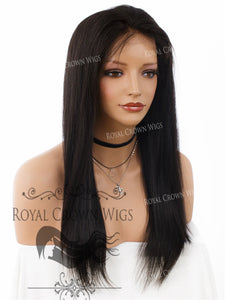 18 Inch Lace Front Human Hair Wig with Straight Texture in Natural Color 130% Density, Human Hair Wig, Royal Crown Wigs