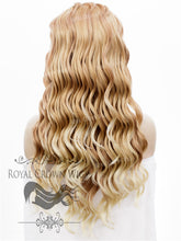 24 inch Synthetic Lace Front with Wave Texture in Golden Blonde to Light Blonde Ombre, Synthetic Wig, Royal Crown Wigs