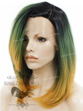 Synthetic Straight Texture Lace Front bob in Rooted Green to Yellow Ombre