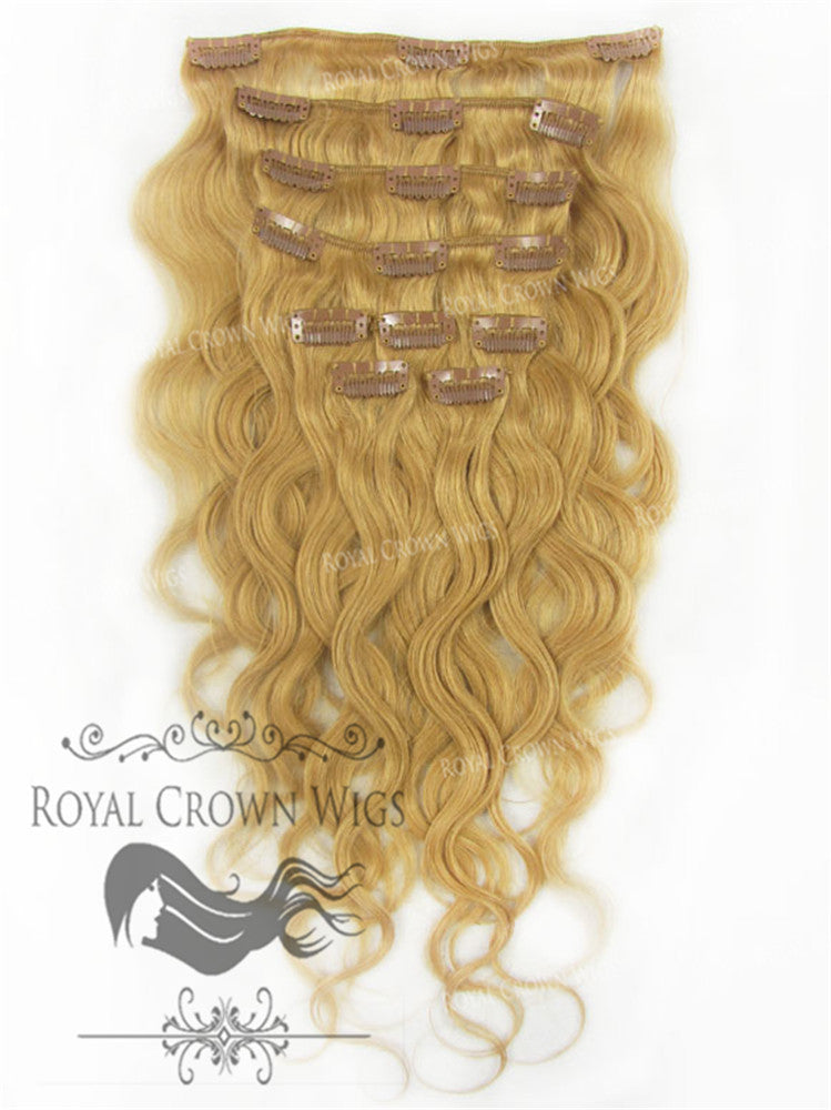 Shop Brazilian 9 Piece Body Wave Human Hair Weft Clip In Extensions