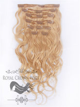 Brazilian 9 Piece Body Wave Human Hair Weft Clip-In Extensions in #16, Clip-In Hair Extension, Royal Crown Wigs
