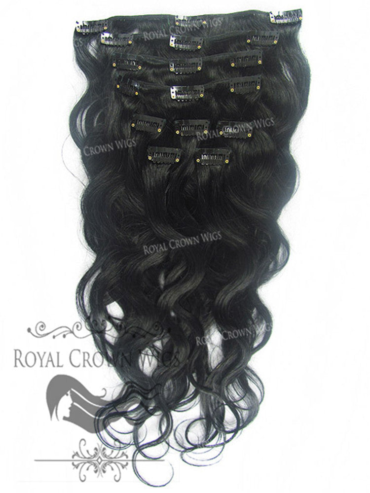 Brazilian 9 Piece Body Wave Human Hair Weft Clip-In Extensions in #1, Clip-In Hair Extension, Royal Crown Wigs