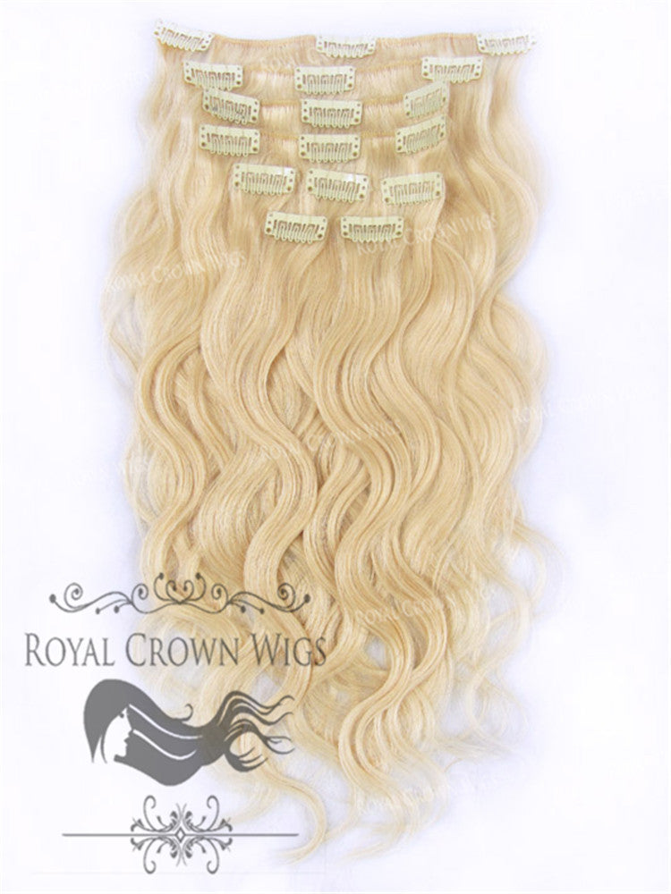 Brazilian 9 Piece Body Wave Human Hair Weft Clip-In Extensions in #22, Clip-In Hair Extension, Royal Crown Wigs