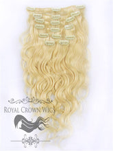 Brazilian 9 Piece Body Wave Human Hair Weft Clip-In Extensions in #22/#613, Clip-In Hair Extension, Royal Crown Wigs