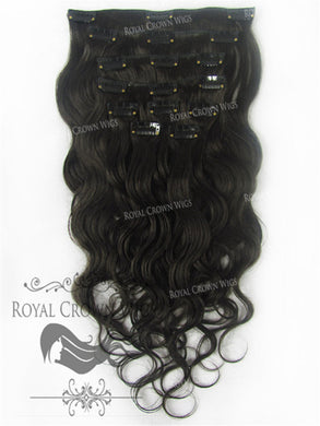 Brazilian 9 Piece Body Wave Human Hair Weft Clip-In Extensions in #2, Clip-In Hair Extension, Royal Crown Wigs