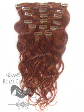 Brazilian 9 Piece Body Wave Human Hair Weft Clip-In Extensions in #33, Clip-In Hair Extension, Royal Crown Wigs
