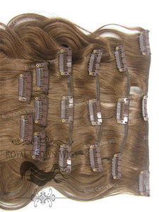 Brazilian 9 Piece Body Wave Human Hair Weft Clip-In Extensions in #4, Clip-In Hair Extension, Royal Crown Wigs