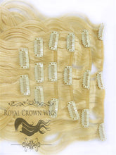 Brazilian 9 Piece Body Wave Human Hair Weft Clip-In Extensions in #613, Clip-In Hair Extension, Royal Crown Wigs