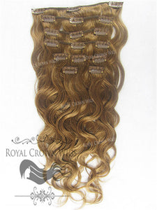 Brazilian 9 Piece Body Wave Human Hair Weft Clip-In Extensions in #6, Clip-In Hair Extension, Royal Crown Wigs
