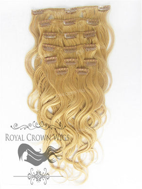 Brazilian 9 Piece Body Wave Human Hair Weft Clip-In Extensions in #8, Clip-In Hair Extension, Royal Crown Wigs