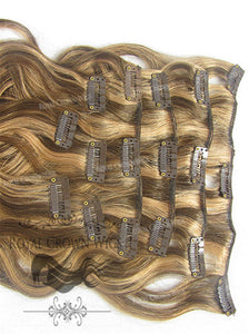 Brazilian 9 Piece Body Wave Human Hair Weft Clip-In Extensions in #4/#27, Clip-In Hair Extension, Royal Crown Wigs