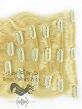 Brazilian 9 Piece Body Wave Human Hair Weft Clip-In Extensions in #60, Clip-In Hair Extension, Royal Crown Wigs