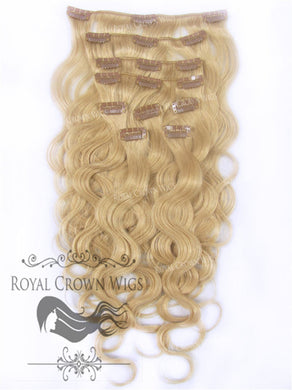 Brazilian 9 Piece Body Wave Human Hair Weft Clip-In Extensions in #24, Clip-In Hair Extension, Royal Crown Wigs
