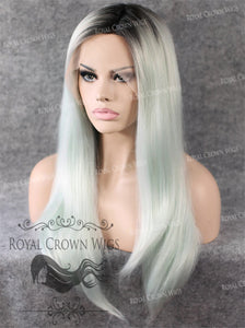 "24 inch Heat Safe Synthetic Straight Texture Lace Front ""Aphrodite"" in Rooted Ash Blue, Synthetic Wig, Royal Crown Wigs"