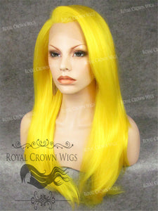 "24 inch Heat Safe Synthetic Straight Texture Lace Front ""Aphrodite"" in in Neon Yellow, Synthetic Wig, Royal Crown Wigs"