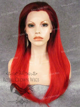 "24 inch Heat Safe Synthetic Straight Texture Lace Front ""Aphrodite"" in Red Ombre, Synthetic Wig, Royal Crown Wigs"