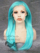 "24 inch Heat Safe Synthetic Straight Texture Lace Front ""Aphrodite"" in Ocean Blue, Synthetic Wig, Royal Crown Wigs"
