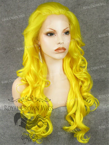 "26 inch Heat Safe Synthetic Lace Front in Curly Texture ""Calypso"" in Yellow, Synthetic Wig, Royal Crown Wigs"