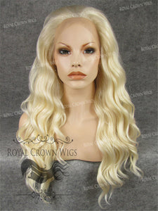 24 inch Synthetic Lace Front with Wave Texture in Platinum Blonde, Synthetic Wig, Royal Crown Wigs