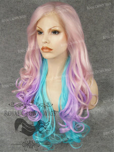 "26 inch Heat Safe Synthetic Lace Front in Curly Texture ""Calypso"" in Galaxy Mix, Synthetic Wig, Royal Crown Wigs"