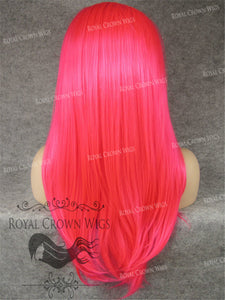 "24 inch Heat Safe Synthetic Straight Texture Lace Front ""Aphrodite"" in Hot Pink, Synthetic Wig, Royal Crown Wigs"