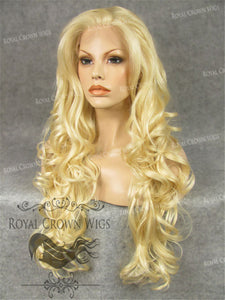 "26 inch Heat Safe Synthetic Lace Front in Curly Texture ""Calypso"" in Platinum Blonde, Synthetic Wig, Royal Crown Wigs"