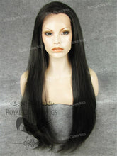 "30 inch Heat Safe Synthetic Straight Lace Front ""Hera"" in Darkest Brown Mix, Synthetic Wig, Royal Crown Wigs"