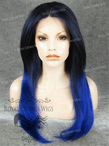 "24 inch Heat Safe Synthetic Straight Texture Lace Front ""Aphrodite"" in Blue Ombre, Synthetic Wig, Royal Crown Wigs"
