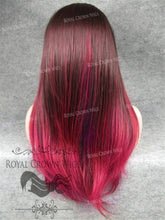 "24 inch Heat Safe Synthetic Straight Texture Lace Front ""Aphrodite"" in Burgundy Ombre, Synthetic Wig, Royal Crown Wigs"