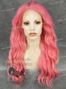 24 inch Synthetic Lace Front with Wave Texture in Pink with Blonde Highlights, Synthetic Wig, Royal Crown Wigs