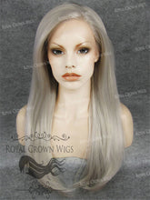 "24 inch Heat Safe Synthetic Straight Texture Lace Front ""Aphrodite"" in Silver Mix, Synthetic Wig, Royal Crown Wigs"
