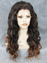 24 inch Synthetic Lace Front with Wave Texture in Dark Brown to Light Brown Ombre, Synthetic Wig, Royal Crown Wigs