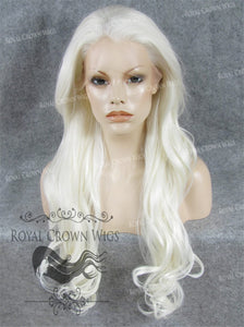 "26 inch Heat Safe Synthetic Lace Front ""Constance"" with Curly Texture in White, Synthetic Wig, Royal Crown Wigs"