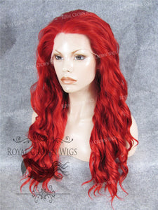 24 inch Synthetic Lace Front with Wave Texture in Fire Red, Synthetic Wig, Royal Crown Wigs
