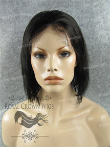 10 Inch Lace Front Human Hair Wig with Straight Texture in #1b, Human Hair Wig, Royal Crown Wigs