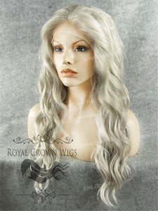 24 inch Synthetic Lace Front with Wave Texture in Gray, Synthetic Wig, Royal Crown Wigs