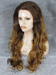 "26 inch Heat Safe Synthetic Lace Front in Curly Texture ""Calypso"" in Rooted Reddish Brown, Synthetic Wig, Royal Crown Wigs"