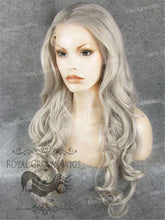 "26 inch Heat Safe Synthetic Lace Front in Curly Texture ""Calypso"" in Gray/Silver, Synthetic Wig, Royal Crown Wigs"