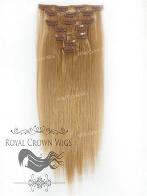 Brazilian 7 Piece Straight Human Hair Weft Clip-In Extensions in #14, Clip-In Hair Extension, Royal Crown Wigs