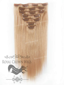 Brazilian 7 Piece Straight Human Hair Weft Clip-In Extensions in #16, Clip-In Hair Extension, Royal Crown Wigs