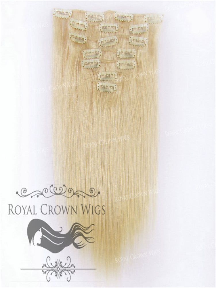 Brazilian 7 Piece Straight Human Hair Weft Clip-In Extensions in #22, Clip-In Hair Extension, Royal Crown Wigs