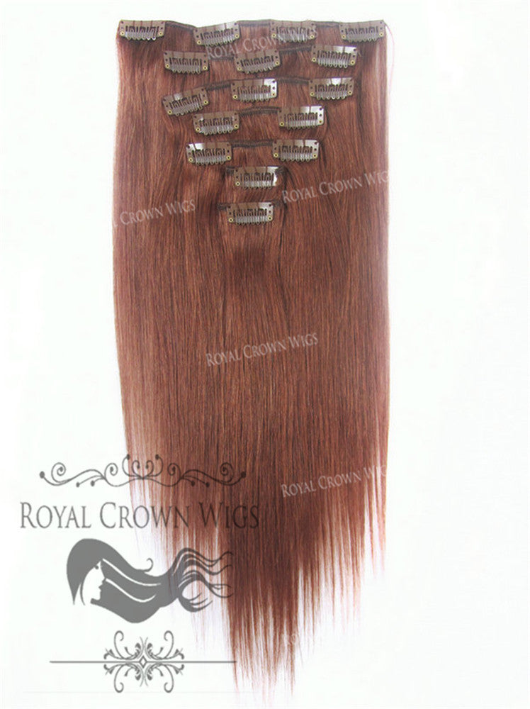 Brazilian 7 Piece Straight Human Hair Weft Clip-In Extensions in #33, Clip-In Hair Extension, Royal Crown Wigs