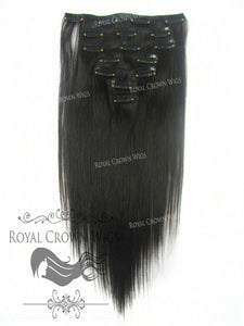 Brazilian 7 Piece Straight Human Hair Weft Clip-In Extensions in #2, Clip-In Hair Extension, Royal Crown Wigs
